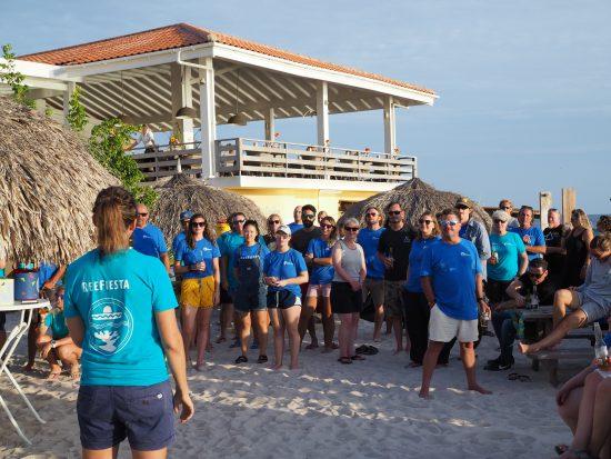 RRFB Coordinator, Francesca Virdis, addresses the volunteers at the ReeFiesta sunset celebration.